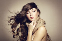Portrait of a beautiful young woman with scarf Royalty Free Stock Images