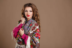 Portrait of a beautiful young woman with a scarf. Beautiful oriental look. portrait of a beautiful young woman with a scarf. Russian beauty. Russian national Royalty Free Stock Photography