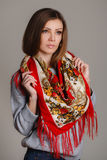 Portrait of a beautiful young woman with a scarf. Beautiful oriental look. portrait of a beautiful young woman with a scarf. Russian beauty. Russian national Stock Photos