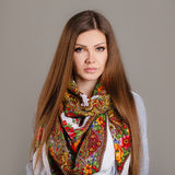 Portrait of a beautiful young woman with a scarf. Beautiful oriental look. portrait of a beautiful young woman with a scarf. Russian beauty. Russian national Royalty Free Stock Photos