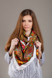 Portrait of a beautiful young woman with a scarf. Beautiful oriental look. portrait of a beautiful young woman with a scarf. Russian beauty. Russian national Stock Images