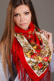 Portrait of a beautiful young woman with a scarf. Beautiful oriental look. portrait of a beautiful young woman with a scarf. Russian beauty. Russian national Stock Photography