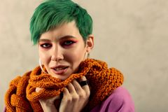 Portrait of a beautiful young woman in the scarf. In winter. Portrait of a beautiful young woman wearing a nice warm scarf stock photography
