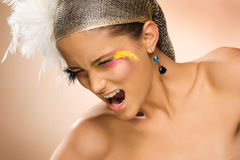 Portrait of beautiful young woman screaming Royalty Free Stock Images