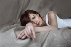 Portrait of beautiful young woman, selective soft focus Royalty Free Stock Photography