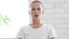 Portrait of Beautiful Young Woman in Shock, Disastors and Problems Royalty Free Stock Photos