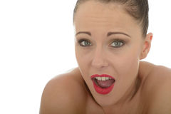 Portrait Of A Beautiful Young Woman Shocked And Open Mouthed in Stock Photos