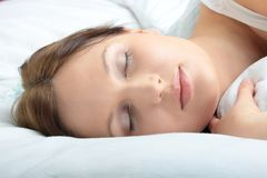 Portrait of the beautiful young woman sleeping Stock Image