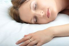 Portrait of the beautiful young woman sleeping Stock Photo