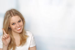 Portrait of beautiful young woman smiling Stock Photos
