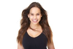 Portrait of a beautiful young woman smiling with flowing hair Stock Photos
