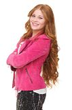 Smilng Young Woman in Pink Jacket Royalty Free Stock Images