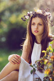 Portrait of a beautiful young woman in spring light Stock Images