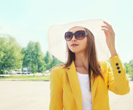 Portrait of beautiful young woman in the straw hat Royalty Free Stock Photography