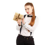 Portrait of beautiful young woman in strict clothing with bow ti Royalty Free Stock Photo