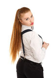 Portrait of beautiful young woman in strict clothing with bow ti Royalty Free Stock Photography