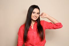 Portrait of beautiful young woman in stylish clothes royalty free stock images