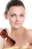 Portrait of a beautiful young woman in sun glasses Royalty Free Stock Photo