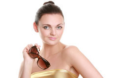 Portrait of a beautiful young woman in sun glasses Royalty Free Stock Photos