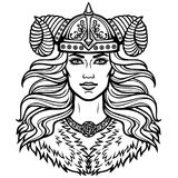 Portrait of the beautiful young woman Valkyrie in a horned helmet. Pagan goddess, mythical character. Portrait of the beautiful young woman Valkyrie in a Stock Images