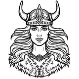 Portrait of the beautiful young woman Valkyrie in a horned helmet. Pagan goddess, mythical character. Vector illustration isolated on a white background. Print stock illustration