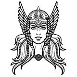 Portrait of the beautiful young woman Valkyrie. Pagan goddess, mythical character. Linear black the white drawing. Vector illustration isolated on a white vector illustration