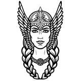 Portrait of the beautiful young woman Valkyrie. Pagan goddess, mythical character. Linear black the white drawing. Vector illustration isolated on a white Royalty Free Stock Photo