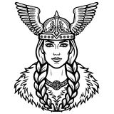 Portrait of the beautiful young woman Valkyrie in a winged helmet. Pagan goddess, mythical character. Linear black the white drawing. Vector illustration Royalty Free Stock Image