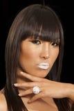Portrait of beautiful young woman wearing ring with white lipstick. Portrait of beautiful young women wearing ring with white lipstick Stock Photo