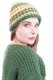 Portrait of a beautiful young woman wearing winter knitted cloth Stock Photo
