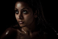 Portrait of beautiful young woman with wet face Stock Photo