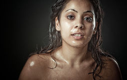 Portrait of beautiful young woman with wet face Royalty Free Stock Photography