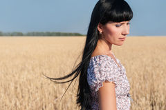 Portrait of beautiful young woman. In the wheat field Royalty Free Stock Photography