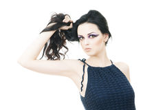 Portrait of a beautiful young woman on a white background. Professional make-up and hairstyle stock photos