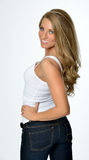 Portrait of beautiful young woman in white tank top Royalty Free Stock Images