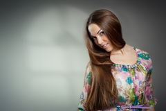 Portrait of beautiful young woman wiht long hair Stock Photography