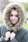 Portrait of beautiful young woman winter lifestyle. Stock Photo