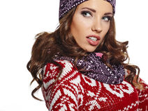 Portrait of beautiful young woman. winter style Royalty Free Stock Image