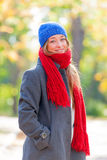Portrait of beautiful young woman on the wonderful autumn park b Royalty Free Stock Photo