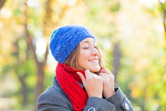 Portrait of beautiful young woman on the wonderful autumn park b Royalty Free Stock Photography