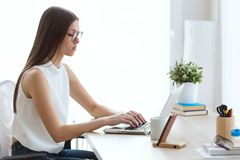 Beautiful young woman working with her laptop in the office. Portrait of beautiful young woman working with her laptop in the office Royalty Free Stock Photography