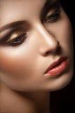 Portrait of beautiful young women. Black background. Studio light Stock Photography