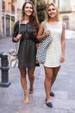 Portrait of beautiful young women having a walk Stock Images