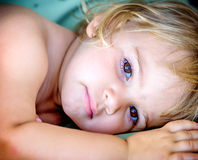 Portrait of a beautifull two year old  girl with blonde hair Stock Photos