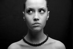 Portrait of beauty. Portrait of beautiful girl. Fashion black-and-white photo royalty free stock image