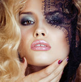Portrait of beauty blond young woman through black lace close up sensual seduction Stock Photo
