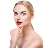 Portrait of beauty blonde girl with bright makeup Stock Photo