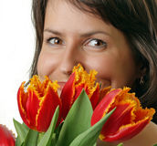 Portrait of the beauty with a bouquet Stock Photo