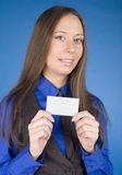 Portrait of beauty business woman with visit card blank Royalty Free Stock Images
