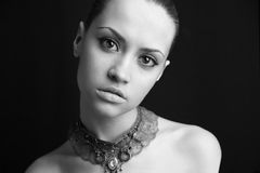 Portrait of beauty girl. Fashion art photo. Studio photo stock photography
